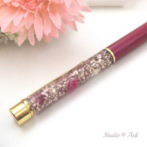 花&キラキラビジュー入りボールペン ローズピンク&ピンクゴールド 替え芯1本付き