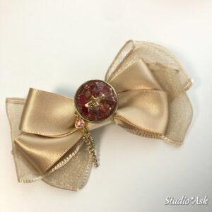 フリル着物に似合うリボンブローチ&ポニーフック ゴールド