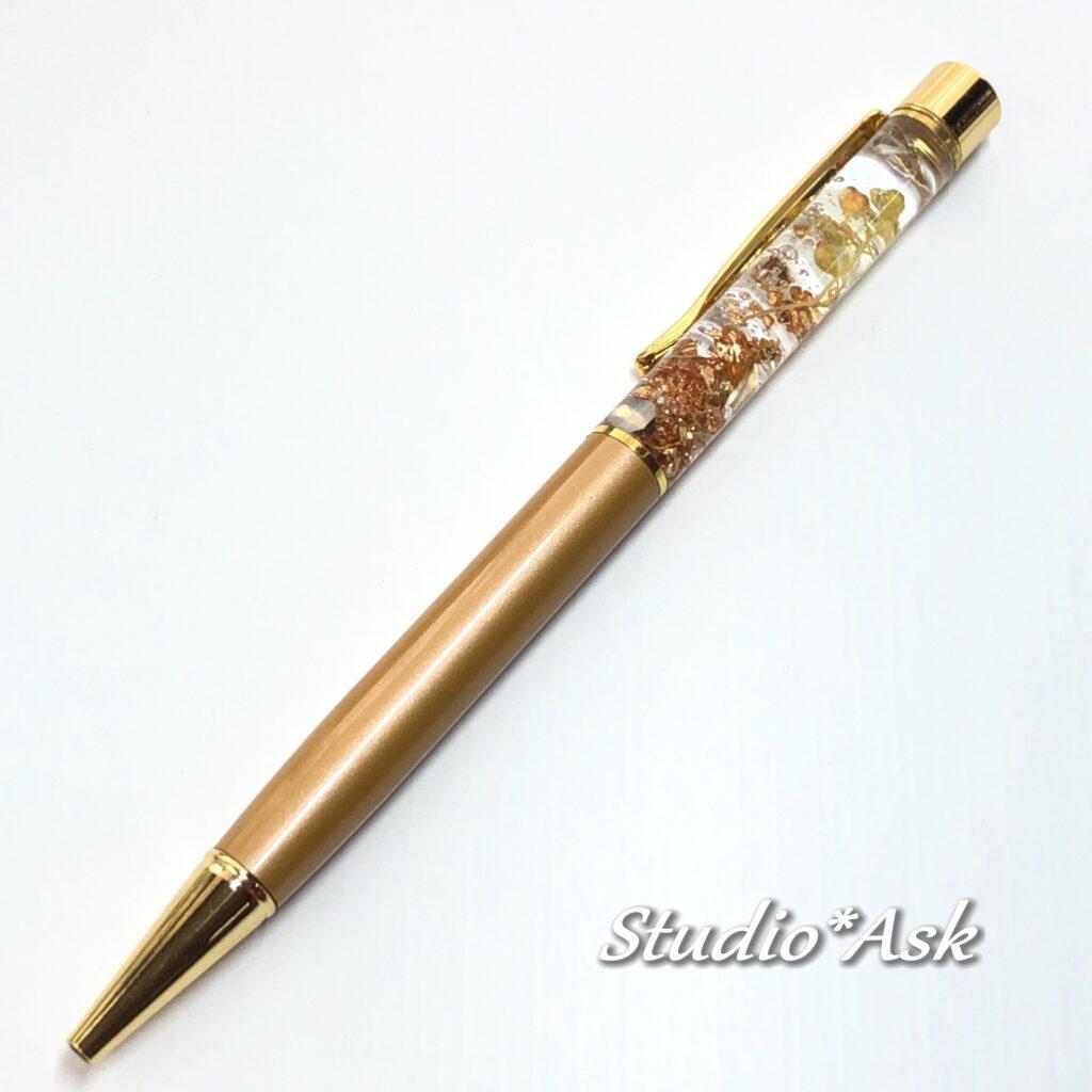 レジンボールペン リーフ型チャトンとかすみ草 オーダー品