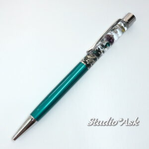 リンフラワーと真珠のシックなレジンボールペン